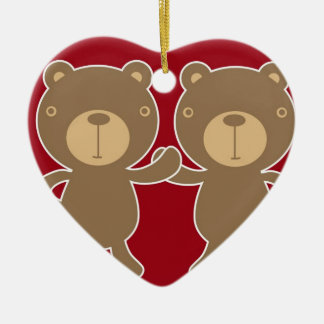 Bear on plain preppy red background. ceramic ornament