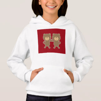 Bear on plain preppy red background. hoodie
