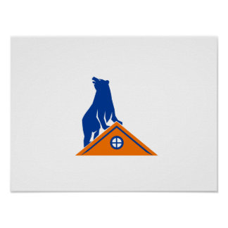 Bear On Roof Isolated Retro Poster