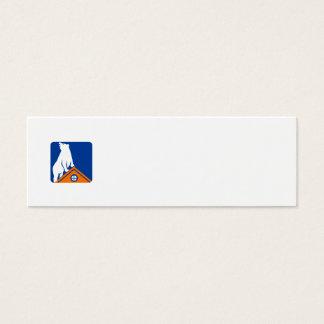 Bear On Roof Rectangle Retro Mini Business Card