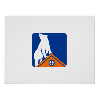Bear On Roof Rectangle Retro Poster