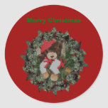 Bear On Wreath Christmas Holiday Sticker Label