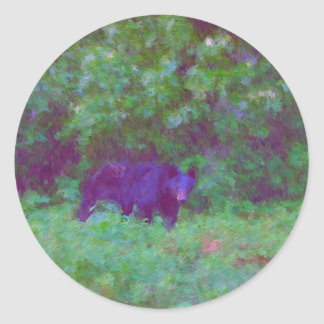 bear painting by hart round stickers