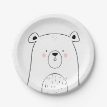 Bear Paper Plates Baby shower Woodland animals