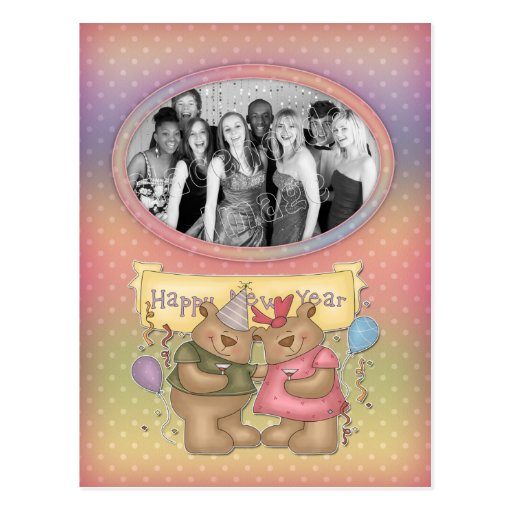 Bear Party - Happy New Year Template Postcard