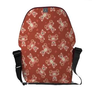 bear patchwork pattern courier bag