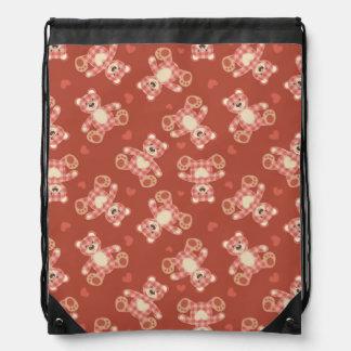 bear patchwork pattern drawstring bag