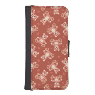 bear patchwork pattern iPhone SE/5/5s wallet case