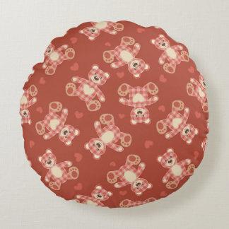 bear patchwork pattern round pillow