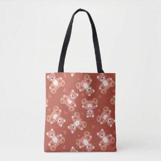 bear patchwork pattern tote bag