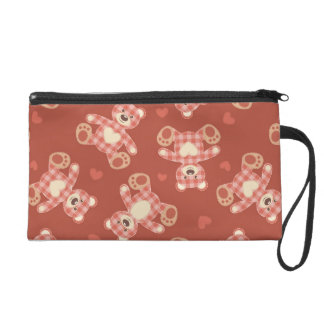 bear patchwork pattern wristlet purse