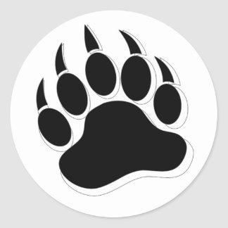 BEAR PAW Awesome Gay Bear claw B&W 3D effect Classic Round Sticker