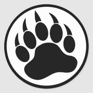 BEAR PAW/CLAW BLACK AND WHITE CLASSIC ROUND STICKER