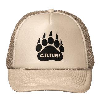 Bear Paw Gay Pride Hat GRRR Text Trucker Hats