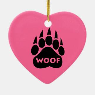 "Bear Paw Gay Pride ""WOOF"" Heart Christmas Ornament"
