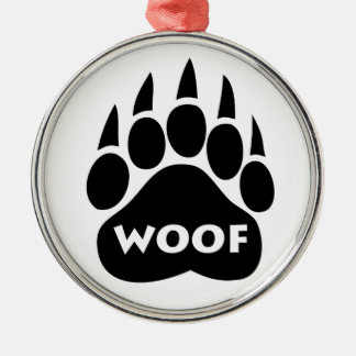 """Bear Paw Gay Pride """"WOOF"""" Round Christmas Ornament"""
