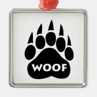 Bear Paw Gay Pride WOOF Square Christmas Ornament