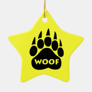 "Bear Paw Gay Pride ""Woof"" Star Christmas Ornament"