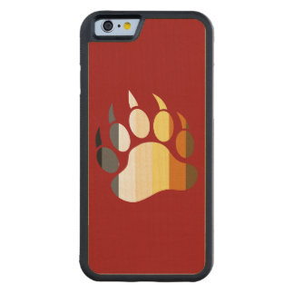 Bear Paw in Bear Pride Flag Colors Carved® Maple iPhone 6 Bumper