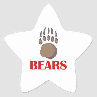 BEAR PAW MASCOT STAR STICKER