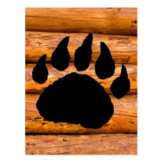 BEAR PAW PRINT AND LOGS POSTCARD