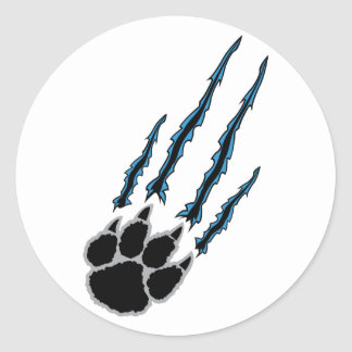 Bear Paw Rip Classic Round Sticker