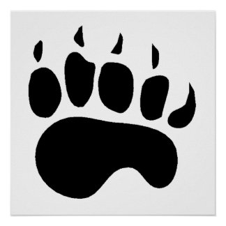 Bear Paw Silhouette Poster
