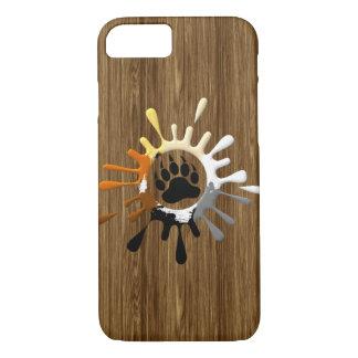 Bear Paw Splash Bear Pride Colors on wood print iPhone 8/7 Case