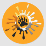 Bear Paw Splash Bear Pride Colors Classic Round Sticker