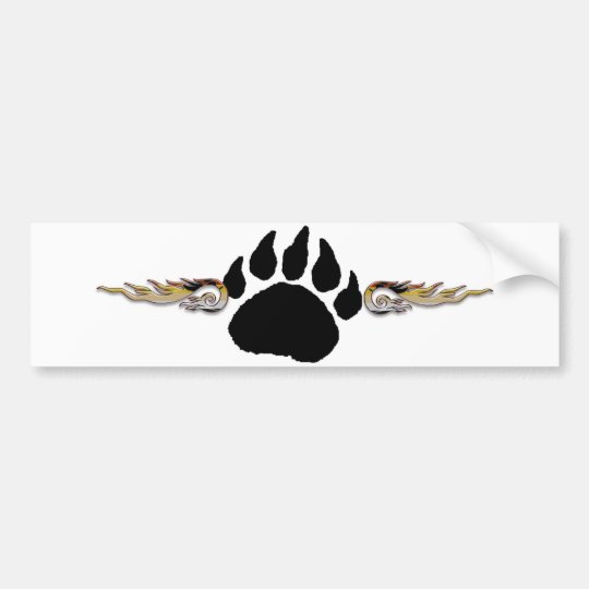 Bear Paw with Flames Bumper Sticker