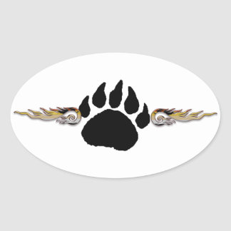 Bear Paw with Flames Oval Sticker