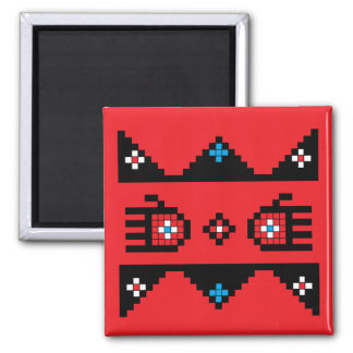 Bear Paws and Pathways - Red Bkg. 2 Inch Square Magnet