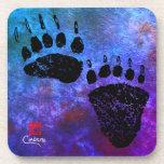 Bear Paws On Blue - Hard Plastic Coasters