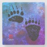 Bear Paws On Blue - Marble Coaster