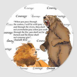 Bear Peaceful Lion - Courage - #2 Faithfulness Bla Classic Round Sticker