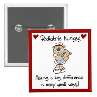Bear Pediatric Nurses T-shirts and Gifts 2 Inch Square Button