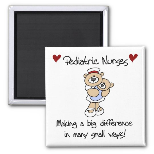 Bear Pediatric Nurses T-shirts and Gifts 2 Inch Square Magnet