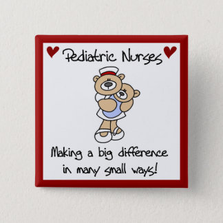 Bear Pediatric Nurses T-shirts and Gifts Button