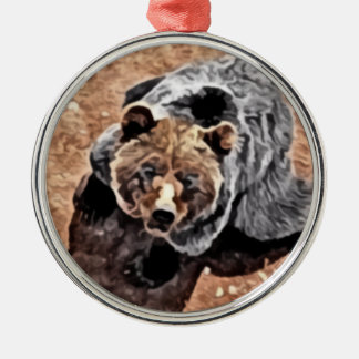Bear peering upward painting metal ornament