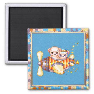 Bear Plane Pixel Art Airplane 2 Inch Square Magnet