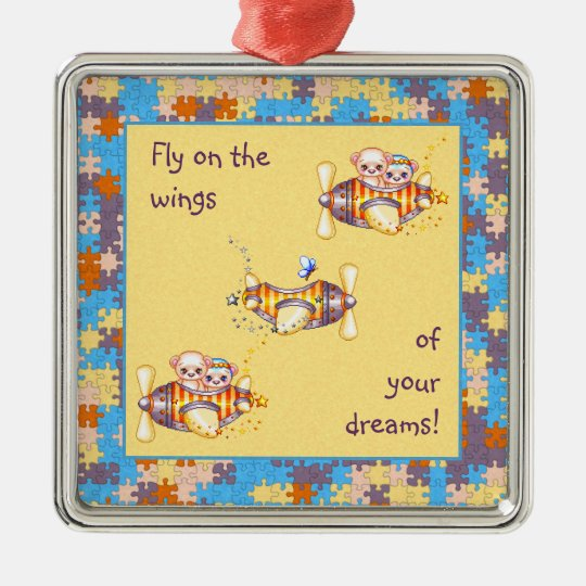Bear Planes & Butterflies Pixel Art Metal Ornament