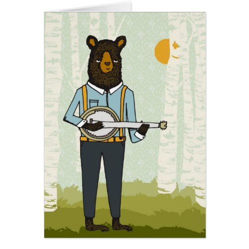 Bear Playing Banjo Greeting Card
