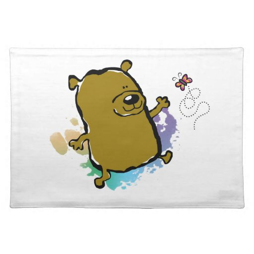 Bear Playing With Butterfly Placemat