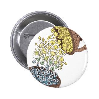 Bear pop corn pinback button