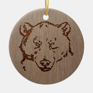 Bear portrait engraved on wood design ceramic ornament