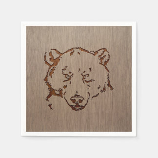 Bear portrait engraved on wood design paper napkin