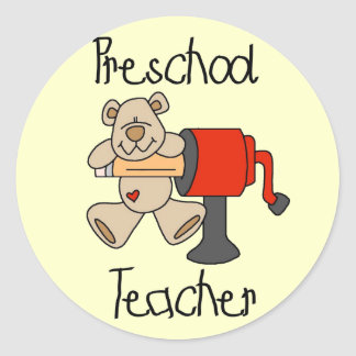 Bear  Preschool Teacher Tshirts and Gifts Classic Round Sticker