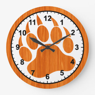 Bear Pride Bear Paw Printed Wooden texture Large Clock