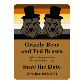 Bear Pride Bears Save the Date Gay Wedding Card