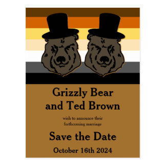Bear Pride Bears Save the Date Postcard Cheltenham
